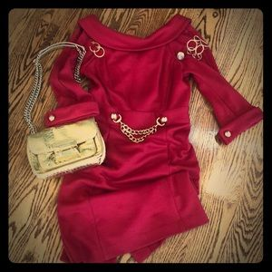 Milly Red Knit Dress with Gold Detailing